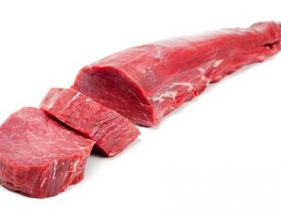 Raw fillet on white background.
